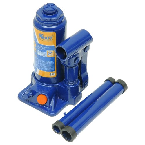 Домкрат бутылочный гидравлический KRAFT КТ 800012 (2 т) синий