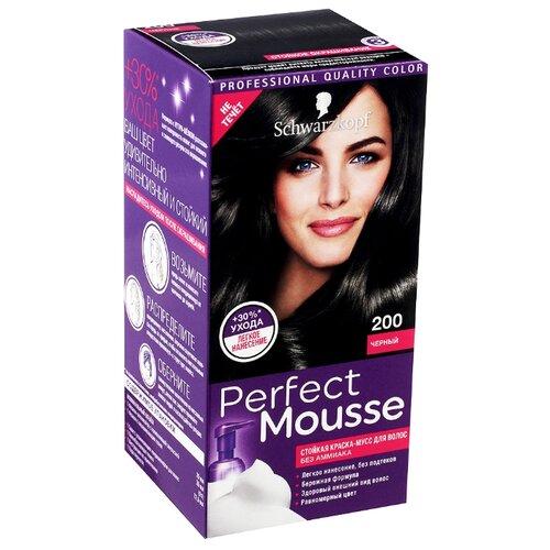 Schwarzkopf Perfect Mousse Стойкая краска-мусс для волос, 200, Черный