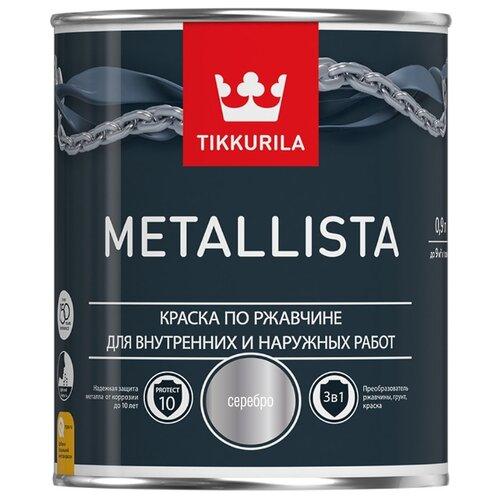 Краска Tikkurila Metallista глянцевая серебро 0.9 л краска по ржавчине tikkurila metallista молотковая коричневая глянцевая 0 4 л