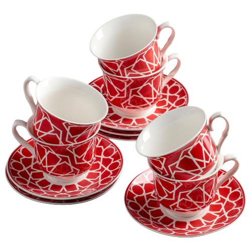 Фото - Чайный сервиз Доляна Пегас (4283936/4283927), 6 персон красный/белый рукавица доляна детишки 5148654 белый красный