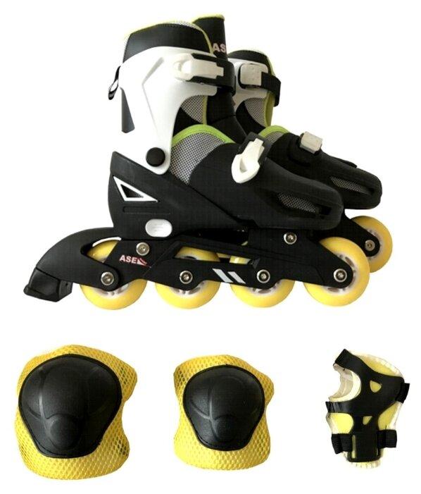 Раздвижные роликовые коньки ASE-Sport + защита, набор ASE-621 Combo р. 31 – 34