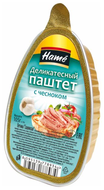 Hame Паштет с чесноком деликатесный 105 г