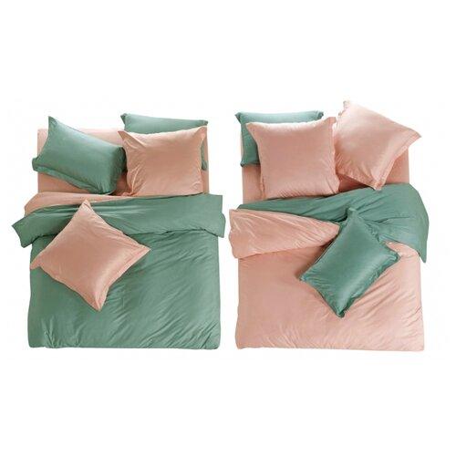 цена Постельное белье 1.5-спальное СайлиД L-3, сатин розовый / зеленый онлайн в 2017 году