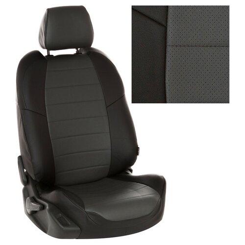 Чехлы на сиденья из экокожи для Peugeot 3008 I (простая комплектация) с 09-16г. Черный, Темно-серый . pe-3008-3008-chets-e