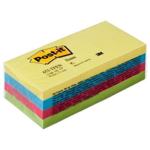 Купить Блок-кубик Post-it 653-TF, 38х51, неон радуга, 12 блоков по 100 листов, Бумага для заметок