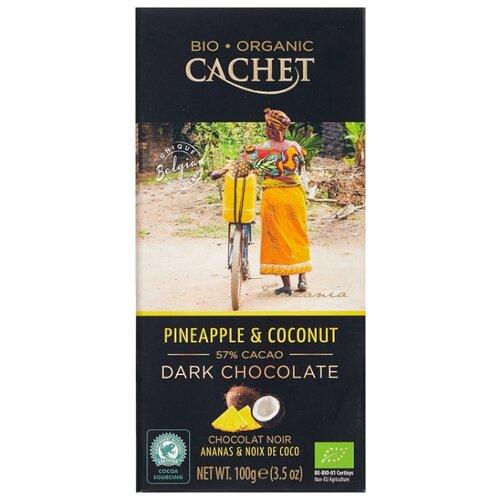 Шоколад Cachet горький c кокосом и ананасом, 57%, 100 г шоколад cachet bio organic элитный бельгийский горький 85% какао танзания 100 г