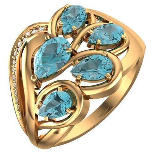 POKROVSKY Женское золотое кольцо с голубым топазом и фианитами 1101034-00720, размер 17.5