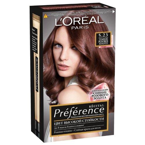 LOreal Paris Preference Feria стойкая краска для волос, 5.23, Темное Розовое ЗолотоКраска<br>