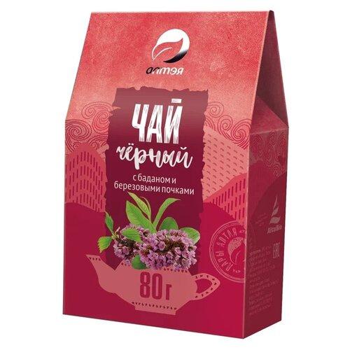 чай листовой алтэя луговой душица мята зверобой 80 гр 80 Чай черный Алтэя с баданом и березовыми почками , 80 г