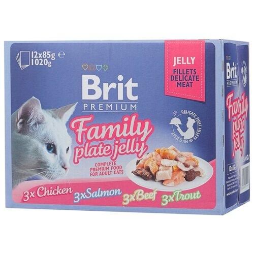 Фото - Корм для кошек Brit Premium Dinner Plate с курицей, с лососем, с говядиной, с форелью 12шт. х 85 г (кусочки в желе) brit набор паучей brit premium family plate jelly для взрослых кошек в желе 85 г х 12 шт курица говядина форель и лосось