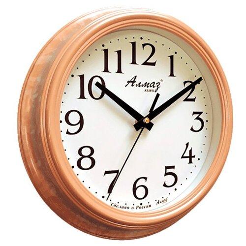 Часы настенные кварцевые Алмаз C04-C10 светло-коричневый/белый часы настенные кварцевые алмаз c04 c10 бежевый с рисунком белый