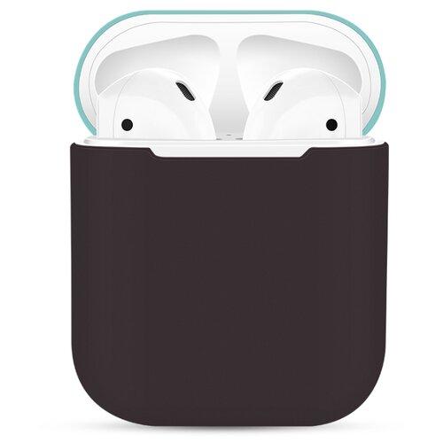 Чехол силиконовый EVA для наушников Apple AirPods 1/2 - Коричневый/Бирюзовый CBAP03BRTQ