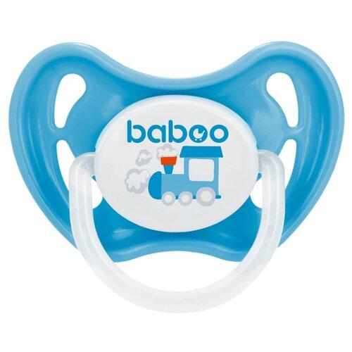 Купить Пустышка силиконовая ортодонтическая baboo Transport 0+ м (1 шт.) голубой/белый, Пустышки и аксессуары