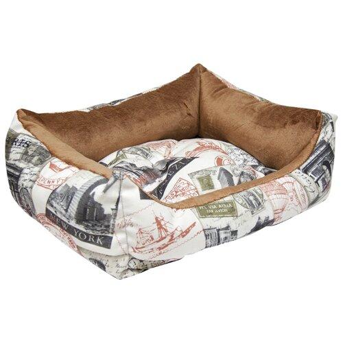 Лежак для собак и кошек Зооник Трэвел 52х45х17 см коричневый/белый