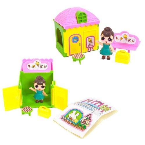 Купить ABtoys кукольный домик В гостях у куклы PT-01023, зеленый/желтый/розовый, Кукольные домики