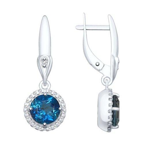 SOKOLOV Серьги из серебра с синими топазами и фианитами 92021876 фото