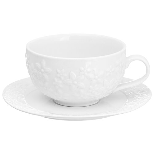 цена на Elan gallery Кофейная пара Цветочки 350 мл белый
