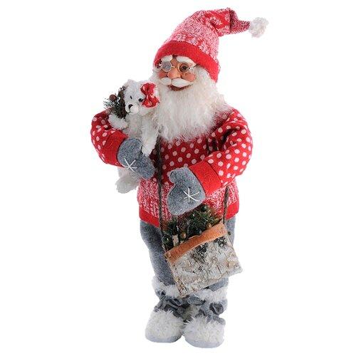Фигурка Maxitoys Дед Мороз большой с мишкой 60 см красный