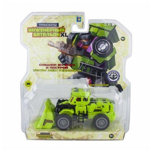 Трансформер 1 TOY Трансботы Инженерный батальон XL: Мега Фронтлифтер Т16433, зеленый/фиолетовый роботы 1 toy робот трансботы инженерный батальон xl мега кранер