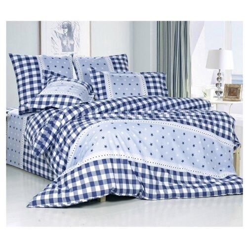 Постельное белье семейное СайлиД A-171, поплин голубой/синий кпб семейное голубой попугай сирень постельное белье с рисунком
