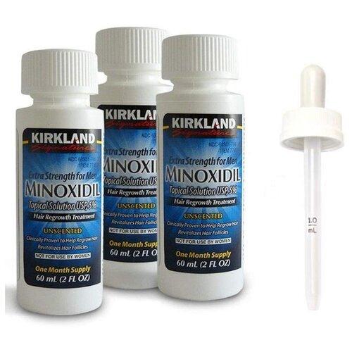 Kirkland Лосьон от выпадения волос Minoxidil 5% с пипеткой, 60 мл, 3 шт. миноксидил kirkland 6 флаконов 5% для роста бороды