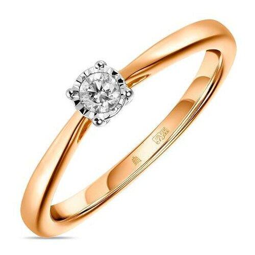 ЛУКАС Кольцо с 1 бриллиантом из красного золота R01-D-PL-33915-R, размер 17.5 кольцо из золота r 61902