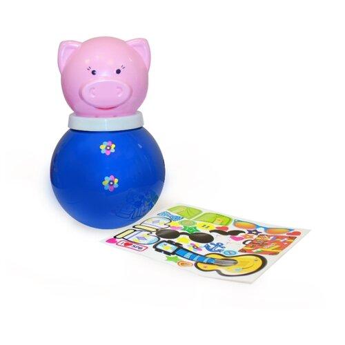 Неваляшка Пластмастер Поросёнок Хэпи с наклейками (11320) 22 см синий/розовый