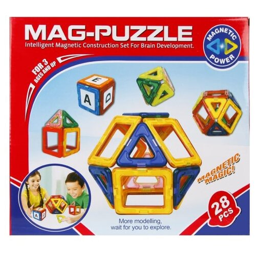 Магнитный конструктор Shantou Gepai Mag-Puzzle ZB28A магнитный конструктор shantou gepai играй и создавай 56 элементов