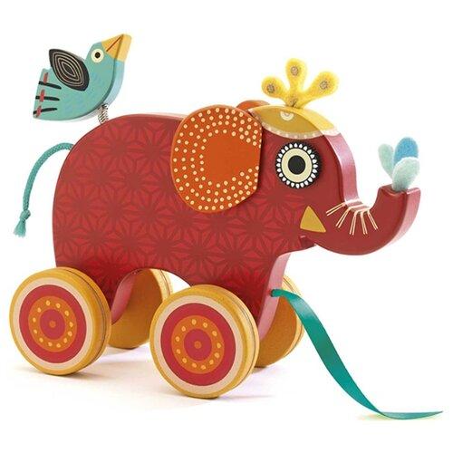 Каталка-игрушка DJECO Слоник (06231) красный каталка на палке петух фани djeco каталка на палке петух фани