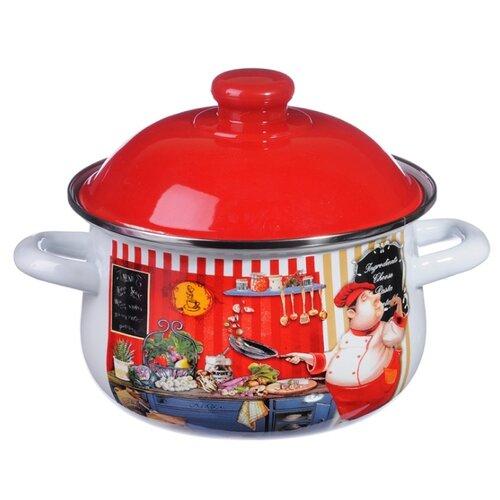 Кастрюля Vetta Повар 3,6 л, белый/красный кастрюля vetta повар 3 6 л белый красный