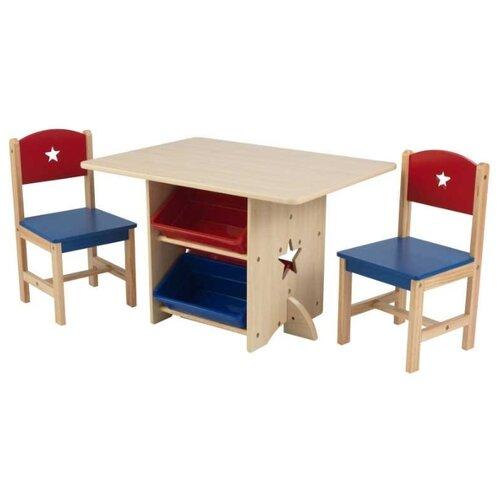 Купить Комплект KidKraft стол + 2 стула + 4 ящика Star (26912_KE) 57x77 см бежевый/синий/красный, Парты и столы