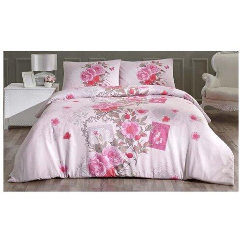 Постельное белье евростандарт Altinbasak Sardinya, ранфорс розовый