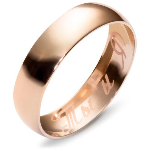 Эстет Гладкое обручальное Обручальное кольцо из красного золота 01О010165, размер 20.5 кольцо обручальное гладкое из золота 55020252