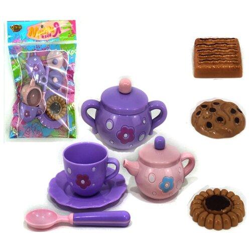 Купить Набор продуктов с посудой Yako Мини Мания - чайный набор M6011 фиолетовый, Игрушечная еда и посуда