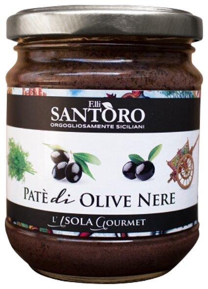 Santoro Паштет из черных оливок, стеклянная банка 180 г