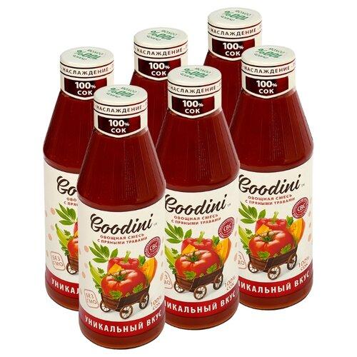 Сок Goodini Овощная смесь с пряными травами, без сахара, 0.75 л, 6 шт. пудовъ морковный хлеб с пряными травами 500 г