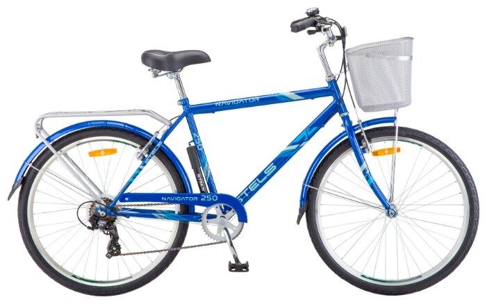 Велосипед Stels Navigator 250 Gent 26 Z010 (2018) 26х19 серый + корзина (92 239)
