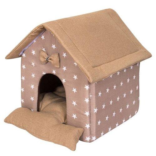 Домик для собак и кошек HutPets LittleHouse 45х40х45 см coffee stars