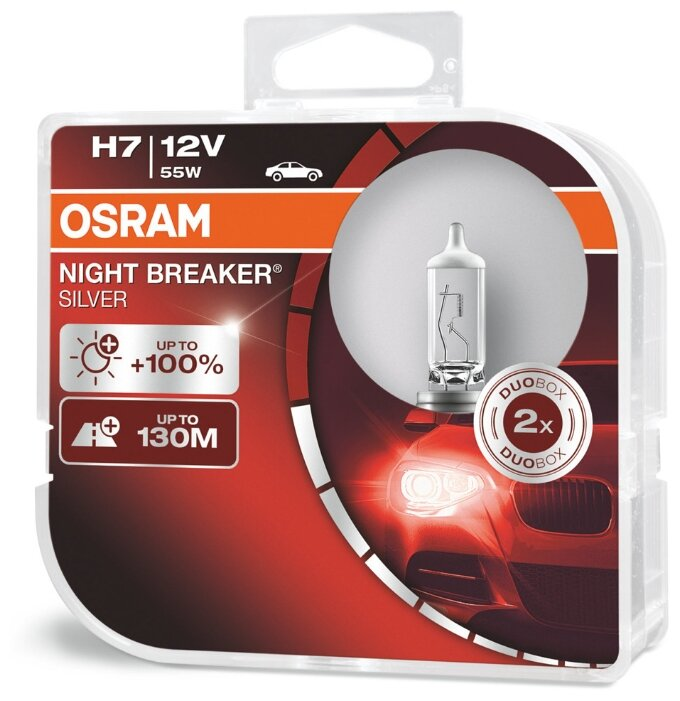 Лампа автомобильная галогенная Osram NIGHT BREAKER SILVER H7 64210NBS-HCB +100% 12V 55W 2 шт.
