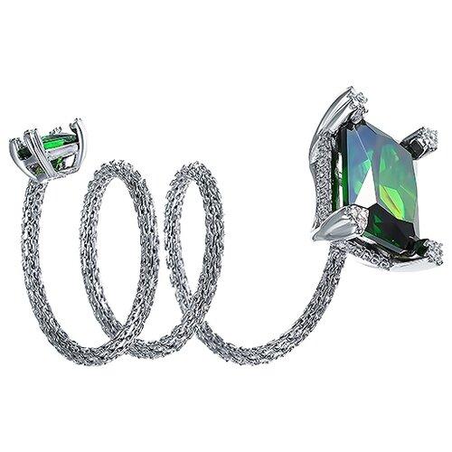 JV Кольцо с стеклом и фианитами из серебра SRT00034-KO-US-001-WG, размер 18 jv кольцо с стеклом и фианитами из серебра se2617 r ko us 001 blk размер 18