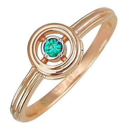 Эстет Кольцо с 1 изумрудом из красного золота 01К517578-1, размер 17 ЭСТЕТ