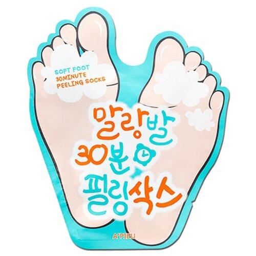 A'PIEU Пилинг-носочки Soft Foot 30 Minute Peeling Socks 40 мл kocostar педикюрная маска гладкие пяточки носочки 40 мл foot peeling pack