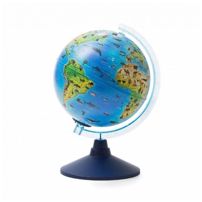 Глобус Зоогеографический, детский, 210 мм, с подсветкой от батареек, Классик евро (Globen)