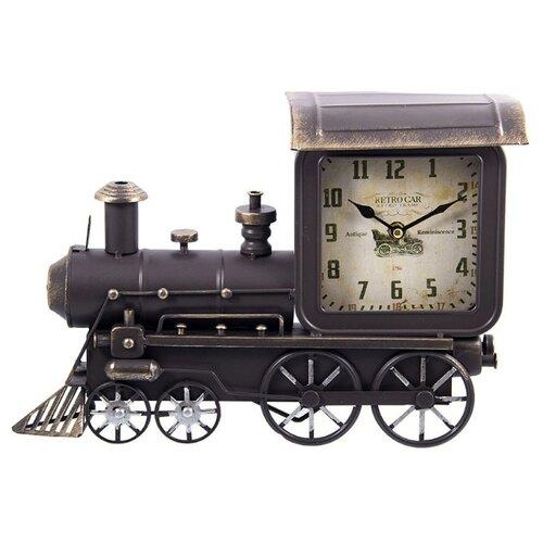 Часы настольные Русские подарки Паровоз коричневый