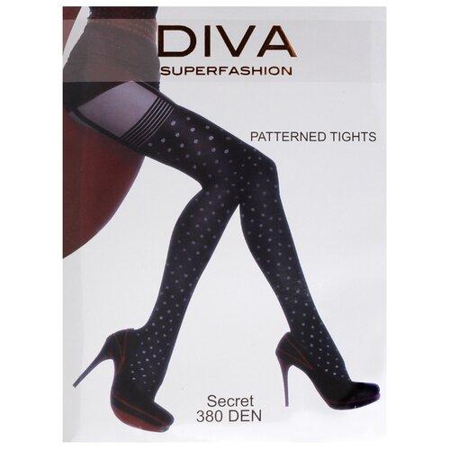 Колготки DIVA SUPERFASHION Secret 128 380 den, размер free size, черный (черный) колготки diva superfashion secret 128 380 den размер free size черный черный