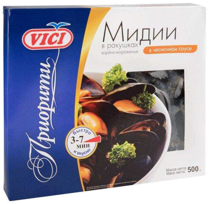 Vici Мидии в ракушках варено-мороженые Приорити с чесночным соусом 500 г
