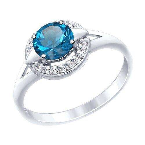 SOKOLOV Кольцо из серебра с синим топазом и фианитами 92011459, размер 19.5 кольца sokolov 92011459 s