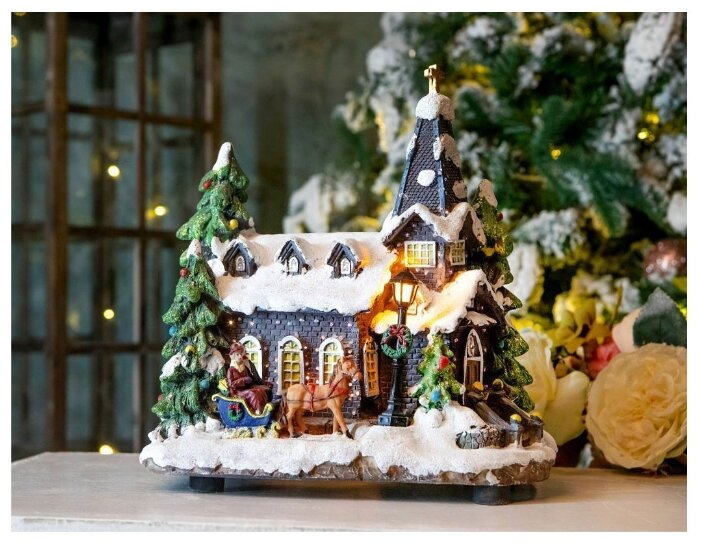 Kaemingk, Светящаяся миниатюра нарядная церквушка, полистоун, LED-огонь, оптоволокно, 18x26x27 см 481332