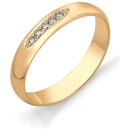 АЛЬКОР Кольцо с бриллиантами из красного золота 1323-100, размер 17.5 фото