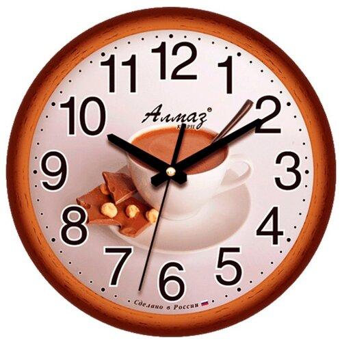 Часы настенные кварцевые Алмаз E09 коричневый/бежевыйЧасы настенные<br>